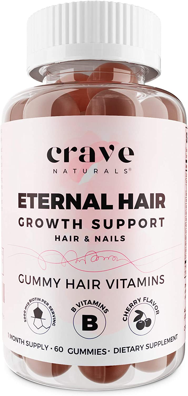 Crave Naturals Gummy Hair & Nails Vitamins For Women with Hair Loss & Thinning | Gummies With High-Potency Biotin, B Vitamins, Zinc & More |Growth Product Supports Longer, Healthier Hair | 1 Month Sup