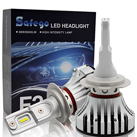 H7 LED Faro Bombillas Kit - Safego 72W LED 2LED Chips 6000LM LED Coche Kit de