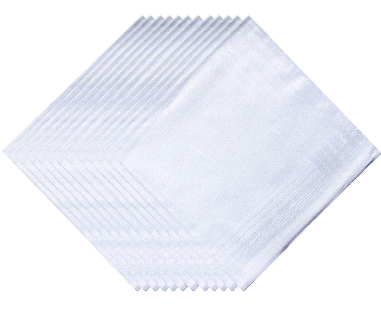 COCOUSM Men's Solid White Cotton Handkerchiefs Pack