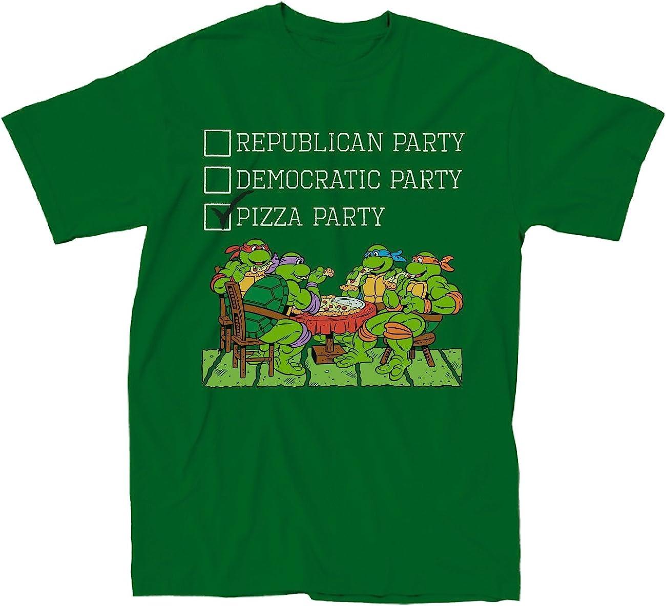 Teenage Mutant Ninja Turtles the Pizza Party Adult Green T-shirt (Adult Small)