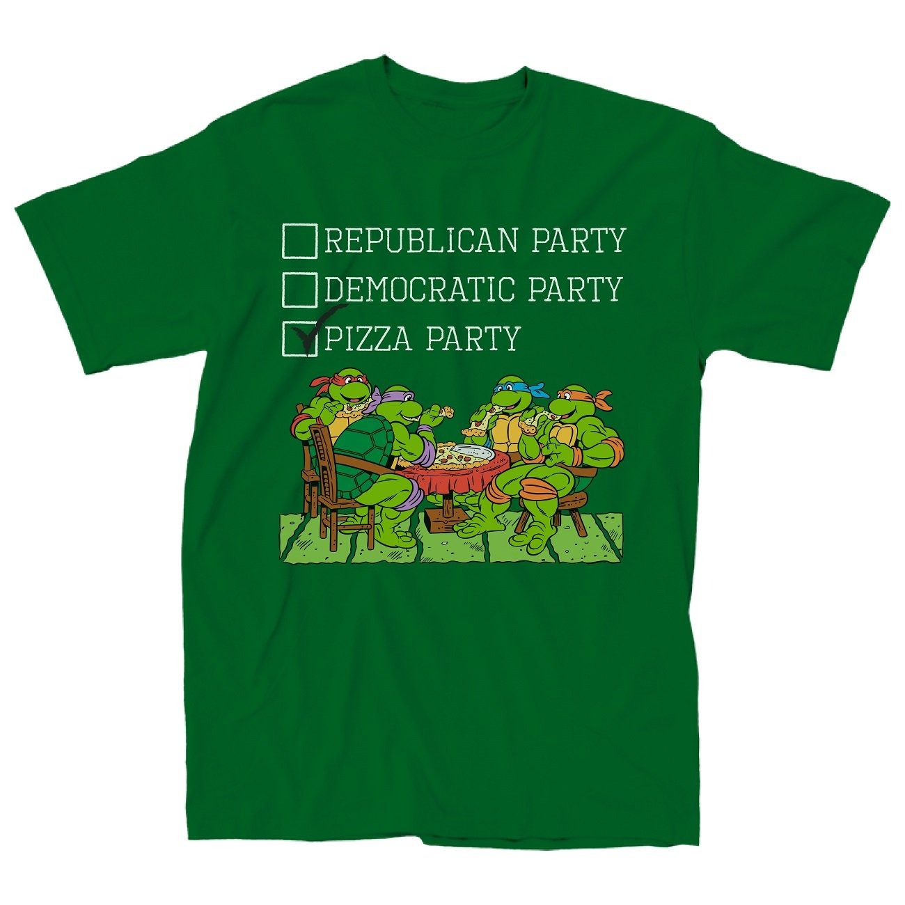 560249d0e2d62 Amazon.com  Teenage Mutant Ninja Turtles the Pizza Party Adult Green T-shirt  (Adult Small)  Clothing