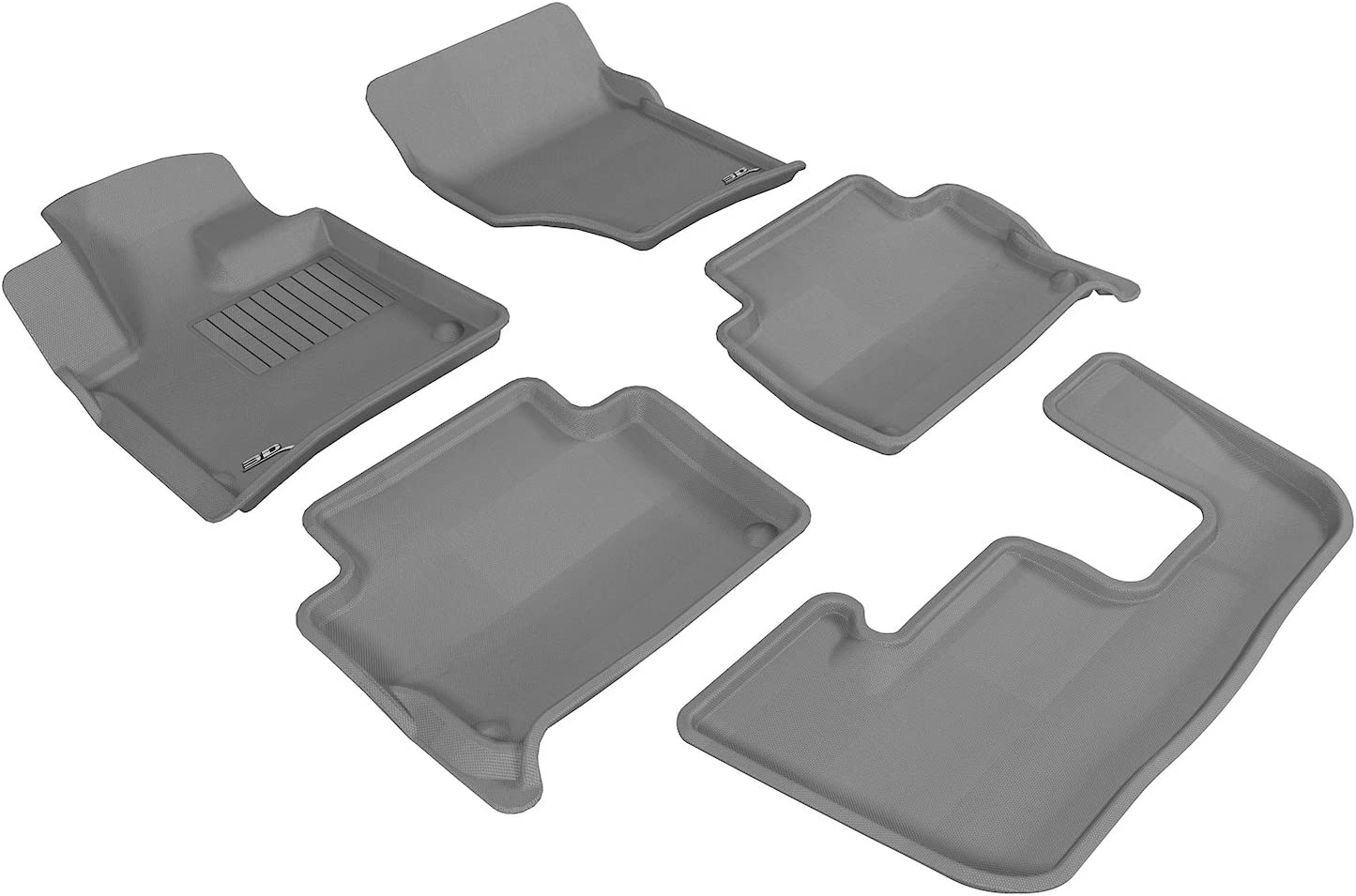 3D MAXpider Complete Set Custom Fit All-Weather Floor Mat for Select Audi Q7 Models - Kagu Rubber (Gray) 71c3AqZIY7L