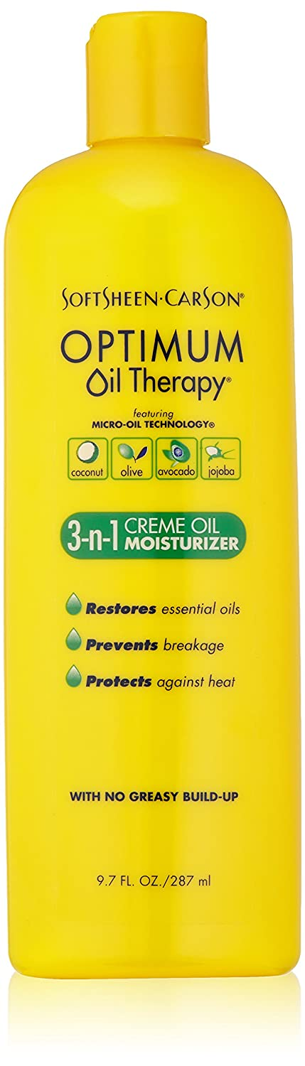 SoftSheen-Carson Optimum Oil Therapy ft. Micro-Oil Technology 3-in-1 Crème Oil Moisturizer, with Coconut Oil, Avocado Oil, Jojoba Oil and Olive Oil, Helps Moisturize, Nourish and Protect, 9.7 fl oz