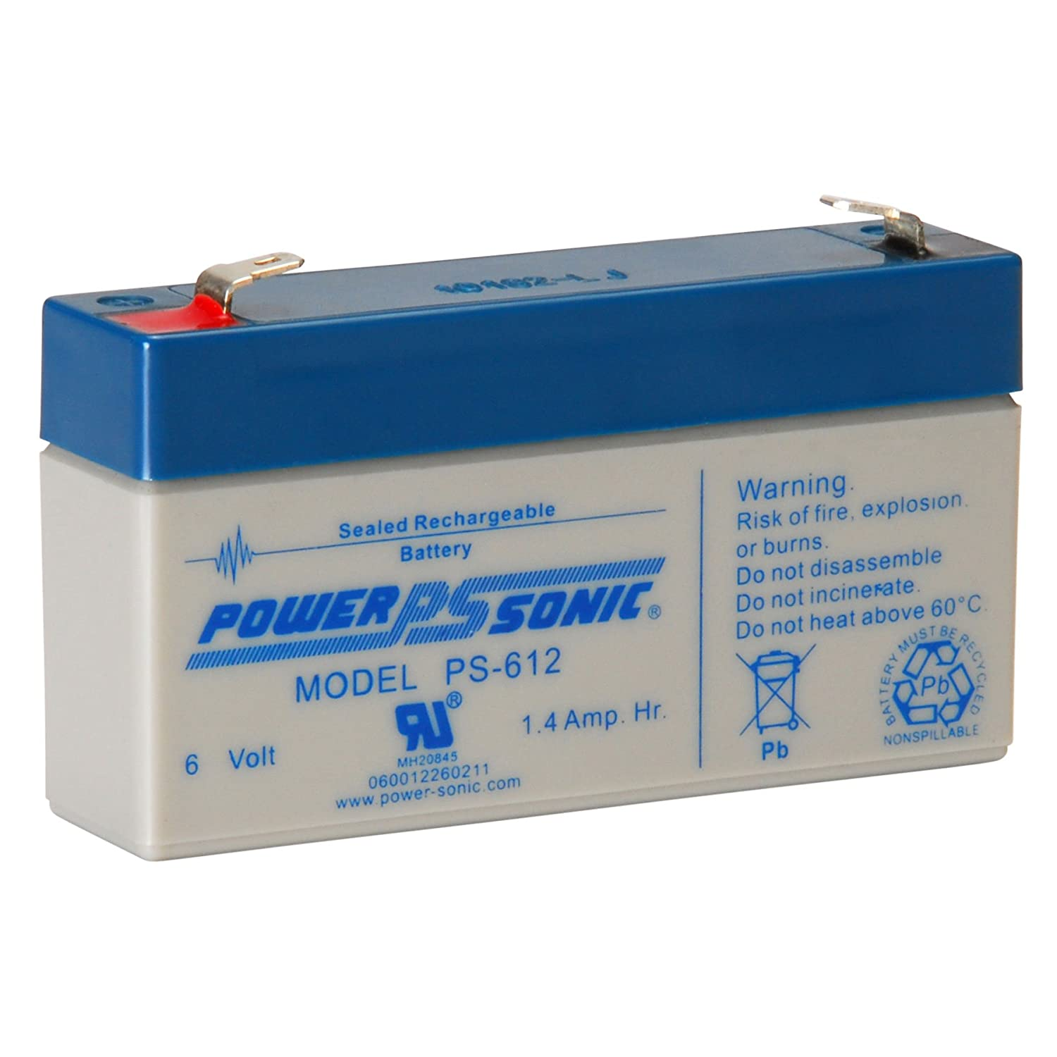 Power-Sonic PS-612 6 Volt 1.4Ah Rechargeable Sealed Lead Acid Battery
