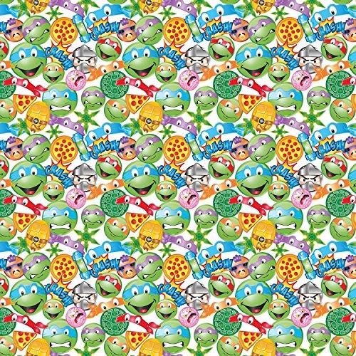 Nickeledeon Ninja Turtles TMNT Icon Toss 100% Cotton Fabric by The Yard