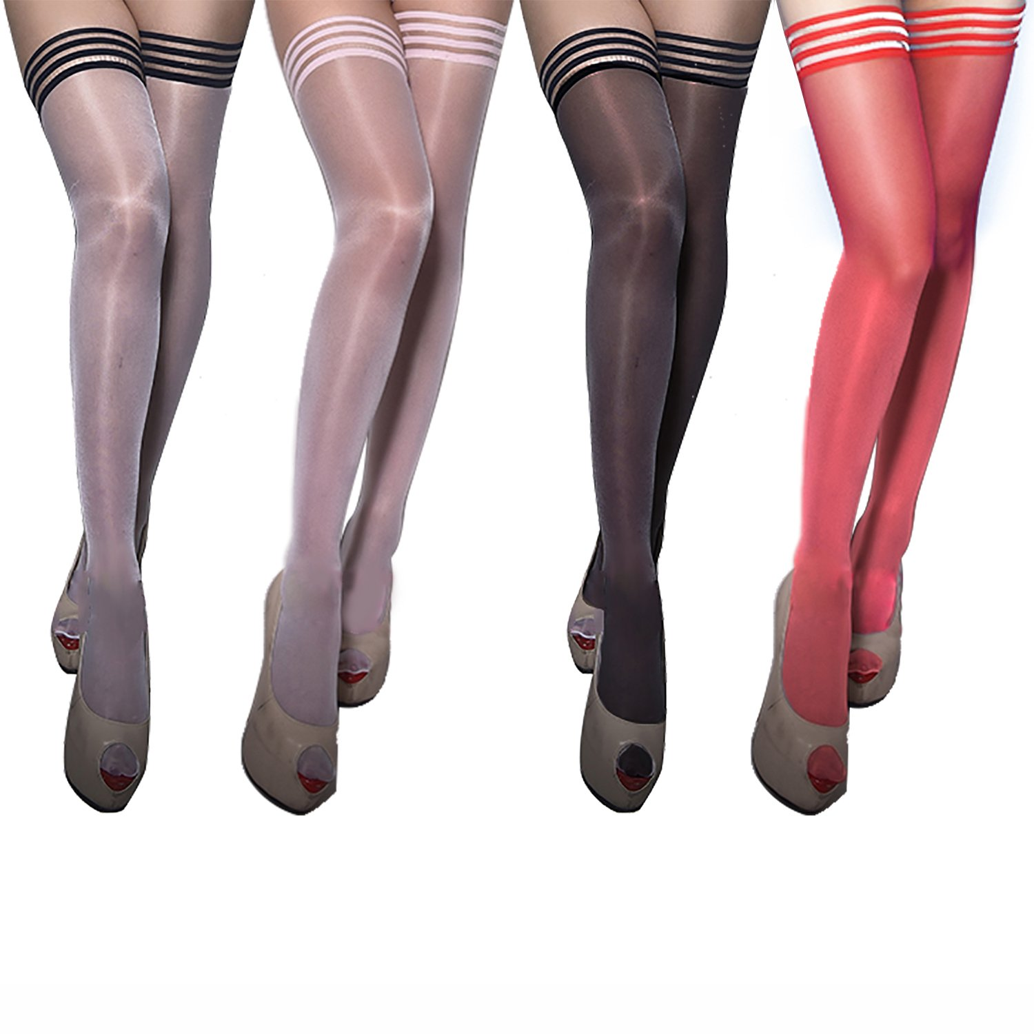 Women's Antiskid Silicone Lace Top Thigh High Silk Stockings (4 Pairs) Multicolor,One Size