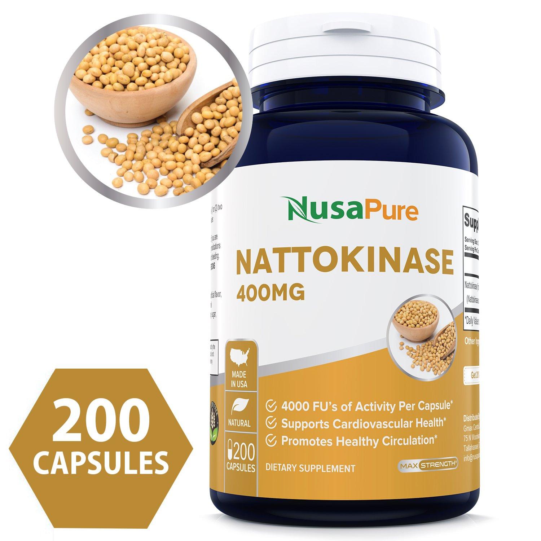 Nattokinase 400 mg 200 Capsules 4000 FU (Non-GMO & Gluten Free) Supports Cardiovascular Health, Natural Blood Thinner