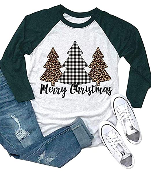 43c8b763 ALLTB Merry Christmas Buffalo Plaid Tree T Shirts Womens 3/4 Raglan Sleeve Leopard  Print Holiday Graphic Tees Tops at Amazon Women's Clothing store: