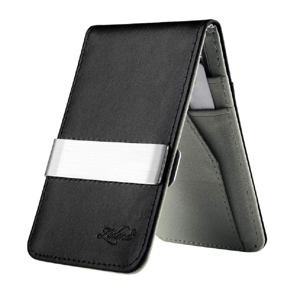 Genuine Leather Silver Money Clip Slim Wallets Black ID Credit Card Holder EDC (Black Gray) by Eternal Cover