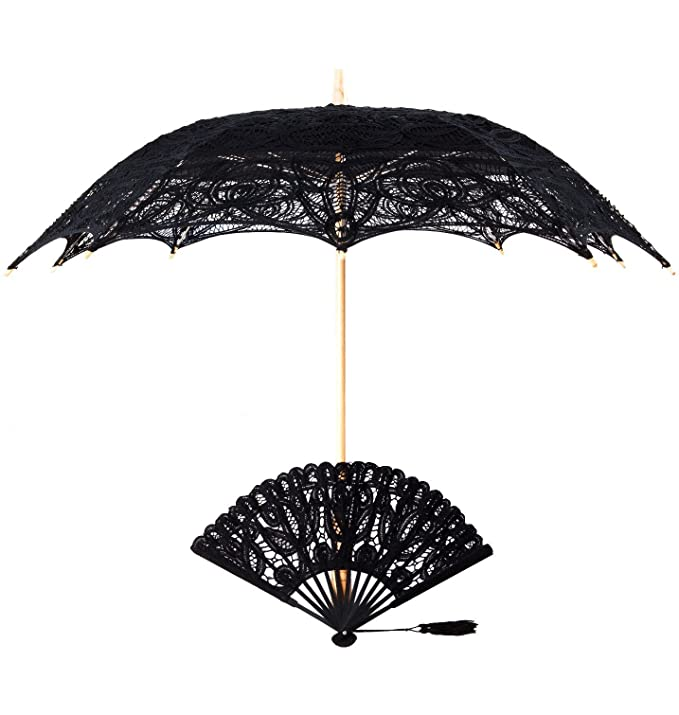Vintage Style Parasols and Umbrellas Vintage Battenburg Lace Parasol And Fan Set Black White Ecru/Beige $44.99 AT vintagedancer.com