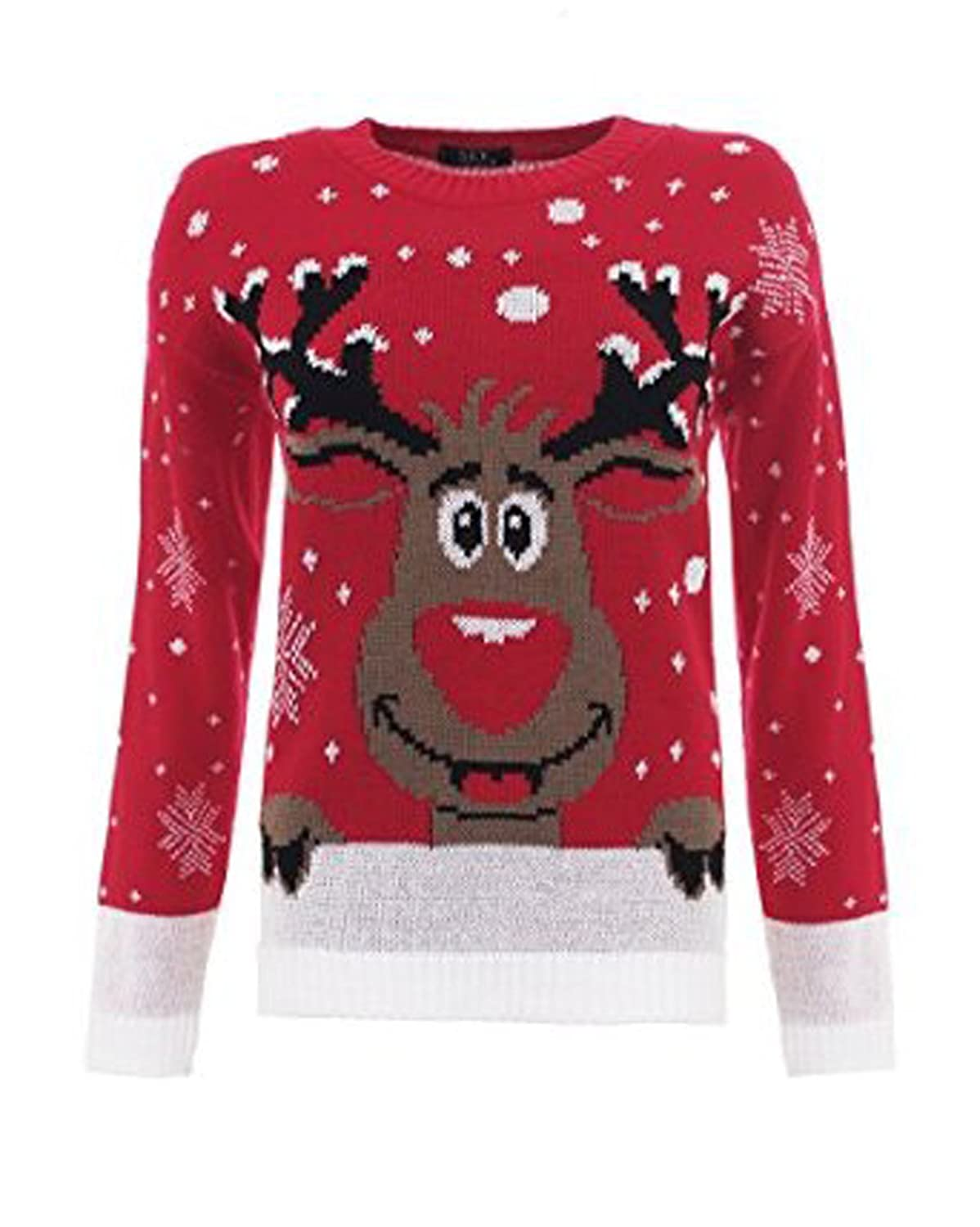 Girlzwalk Girls Xmas Snow Flakes Reindeer Star Print Knitted Jumper