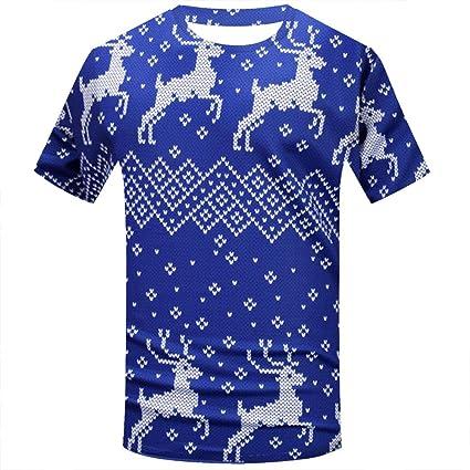 6e641fe0caef Elogoog Men s Christmas Costume Santa Claus Print Novelty Holiday Humor  Long Sleeve T-Shirt (