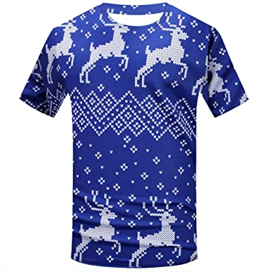 32f87226 HLHN Men Women T-Shirt Christmas 3D Muscle Print Short Sleeve Tops O-Neck  Casual Pullover Winter Blouse Funny Couples: Amazon.co.uk: Clothing