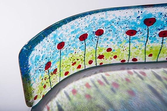 Campo de amapolas fused cristal free-standing art wave ...