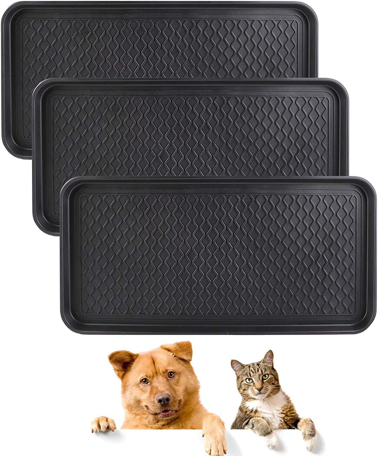 Falflor Pet Food Bowl Tray Multi-Purpose Pet Feeding Mat Non Slip Boot Mat and Tray Floor Protection Indoor Outdoor Multi-Purpose Boot Trays