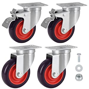 Swivel Caster Wheels Heavy Duty Casters with Brake Set of 4 Safety Dual Locking Casters with 360 Degree No Noise PU Wheels Floor Protection for Carts, Furniture, Workbench, Trolley (4 inch)
