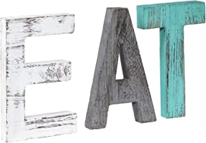 Rustic Wood Family Sign, Decorative Wooden Block Word Signs, Freestanding Wooden Letters, Rustic Family Signs for Home Decor, Housewarming Gift 16.5 x 5.9 Inch, Multicolor (EAT Sign)
