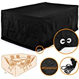 Fellie Cover 96-inch Rectangular Patio Table and Chair Set Cover, Durable Garden Furniture Cover Waterproof, Black