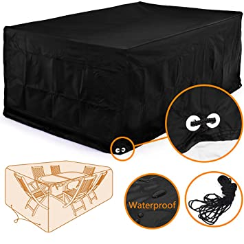 Fellie Cover 96 Inch Rectangular Patio Table And Chair Set Cover, Durable Garden  Furniture Part 92