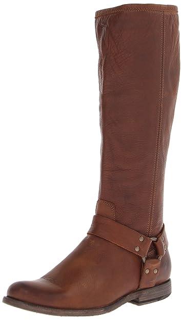 New Style Women Frye Phillip Harness Tall Grey Soft Vintage Leather Free Shipping BOTH Ways boots BU8qu NIU
