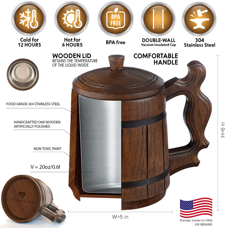 Tazas de Madera para Bebidas Caf/é Hoseten Cerveza Stein Wood Beer Mug Cup Jarra de Cerveza