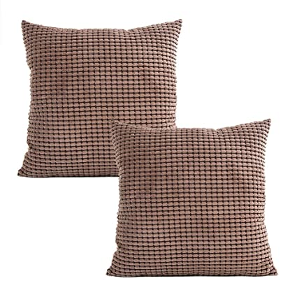 MOCOFO Pack of 2, Corduroy Throw Pillow Cover Decorative Super Soft Summer Solid Brown Soft Corduroy Corn Striped Both Sides Coffee Sofa Cushion Cover ...