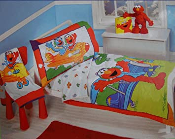 Sesame Street Elmo Aviator 4 Piece Toddler Bedding Set