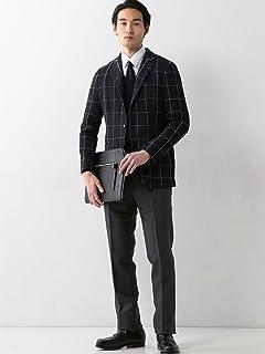 Windowpane Cotton Polyester Jersey Jacket 1122-199-2483: Navy