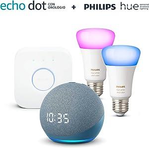 Echo Dot (4ª generazione) con orologio, Ceruleo + Philips Hue Color Starter Kit 2 Lampadine Smart (E27), compatibile con Alexa