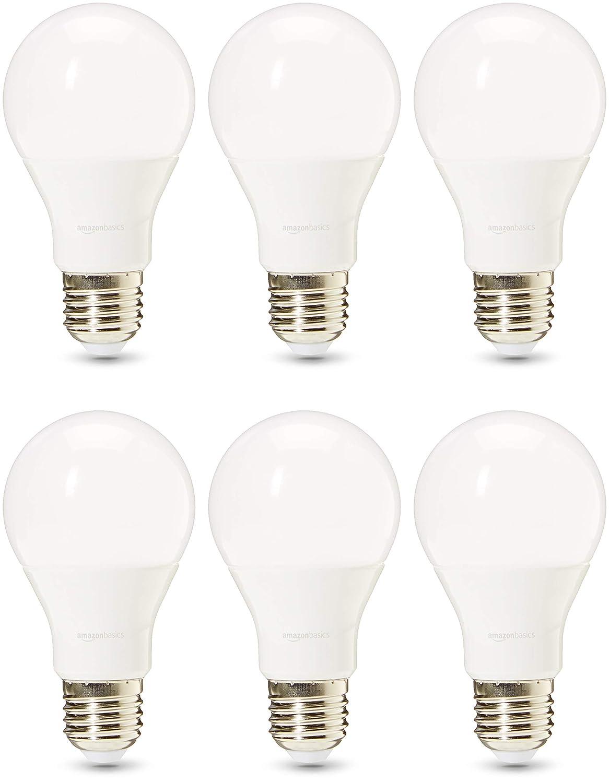 AmazonBasics Professional - Bombilla de tipo Edison LED, casquillo E27, equivalente a 75W, blanco frío, regulable - juego de 6