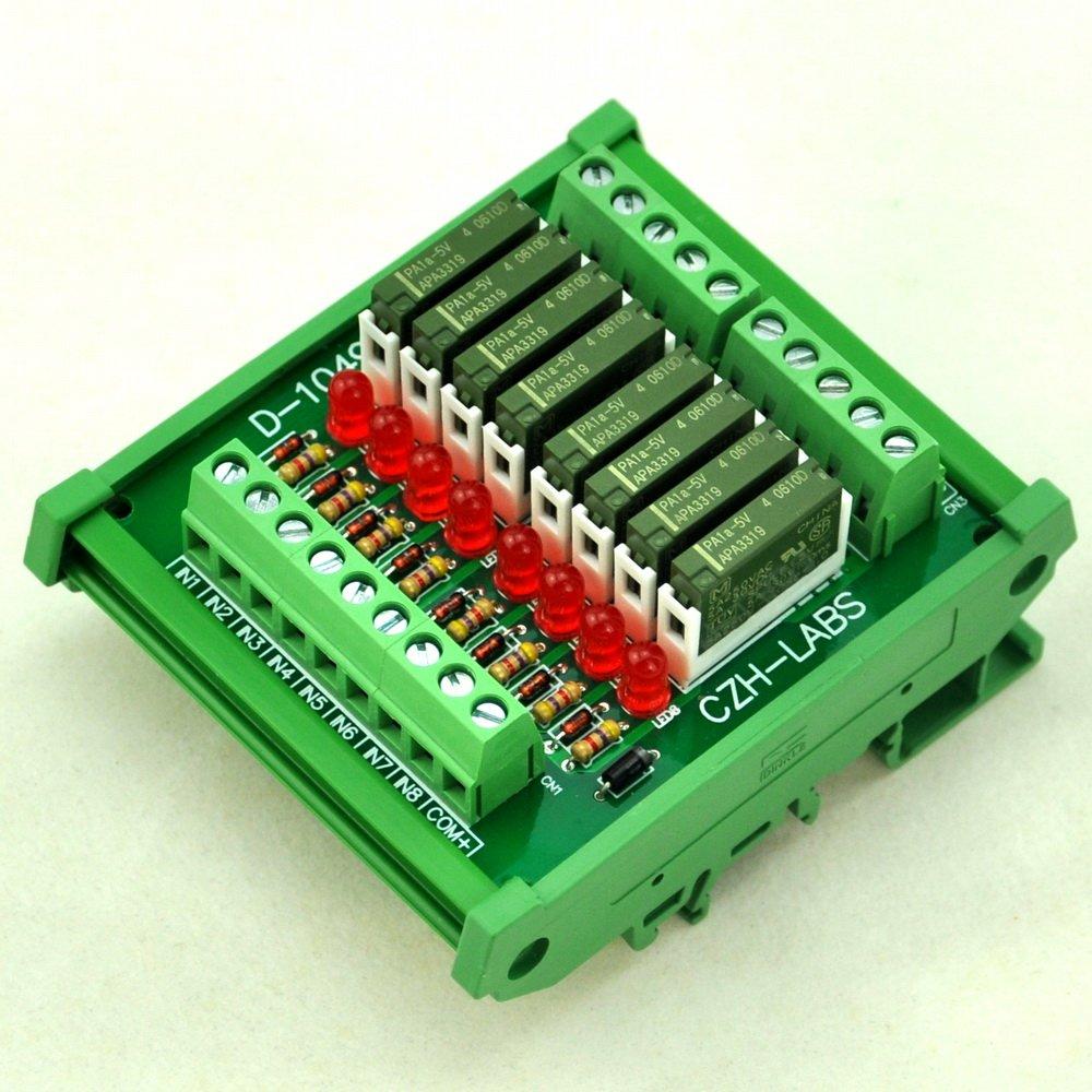 ELECTRONICS-SALON Slim DIN Rail Mount DC5V Sink/NPN 8 SPST-NO 5A Power Relay Module, PA1a-5V