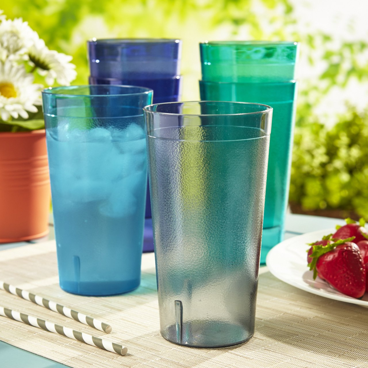 Cafe 20-ounce Break-Resistant Plastic Restaurant-Style Beverage Tumblers | Set of 16 in 4 Coastal Colors by US Acrylic (Image #2)