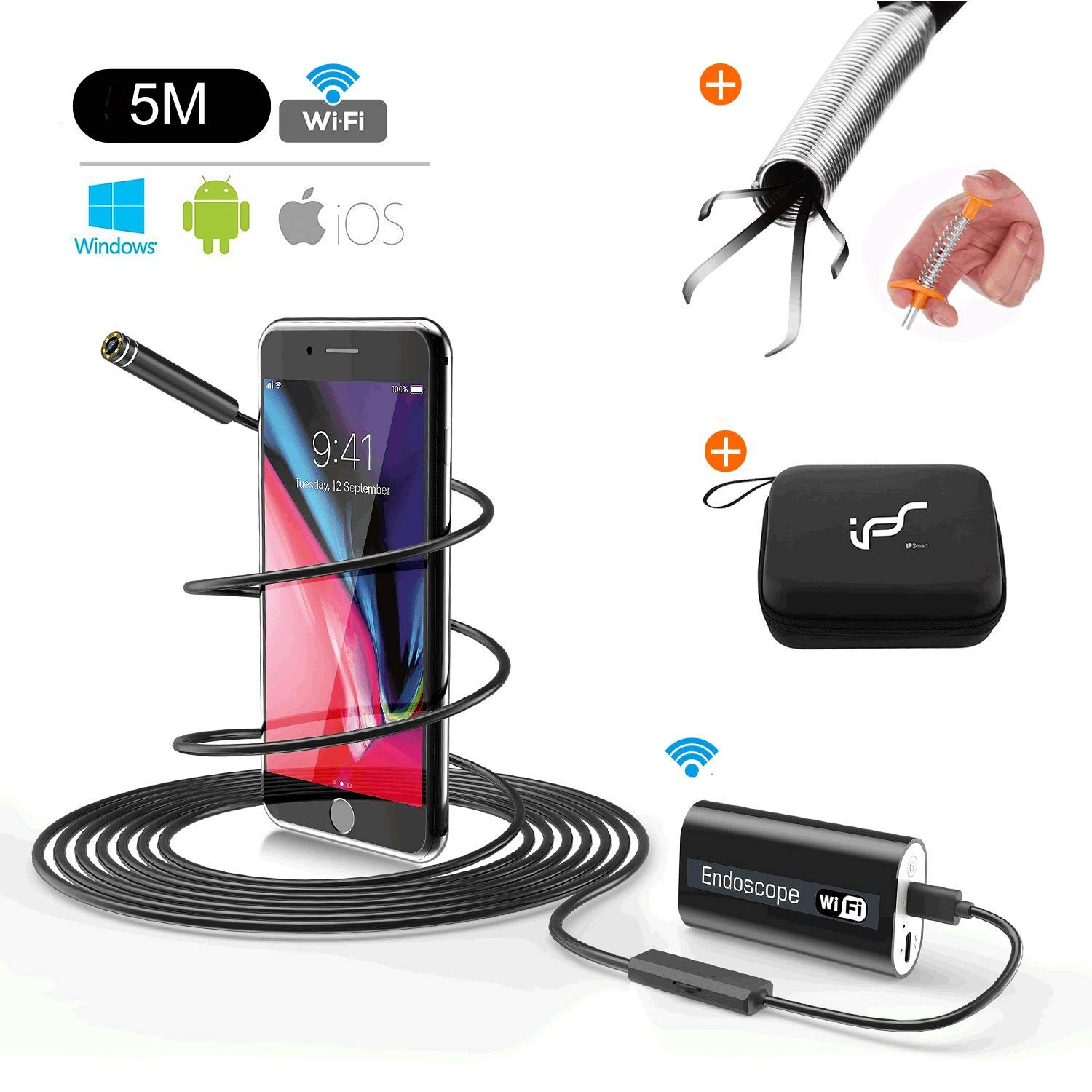 Endoscope Android WIFI USB Waterproof Camera Inspection Etanche Sans Fil Camé ra Snake Boroscope avec 24'Pince Ramassage Flexible Pince de Pré hension 720p HD 2.0MP pour Android, IOS, iPhone 16.4ft (5M) IPS IP SMART