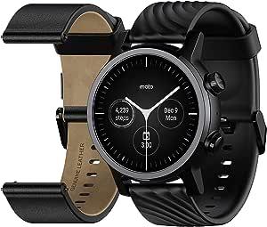 MOTO Motorola 360 3rd Gen Smartwatch - Stainless Steel Case With 20mm Bands, All-day Battery, & WearOs Black, One Size, M360FS19-PB