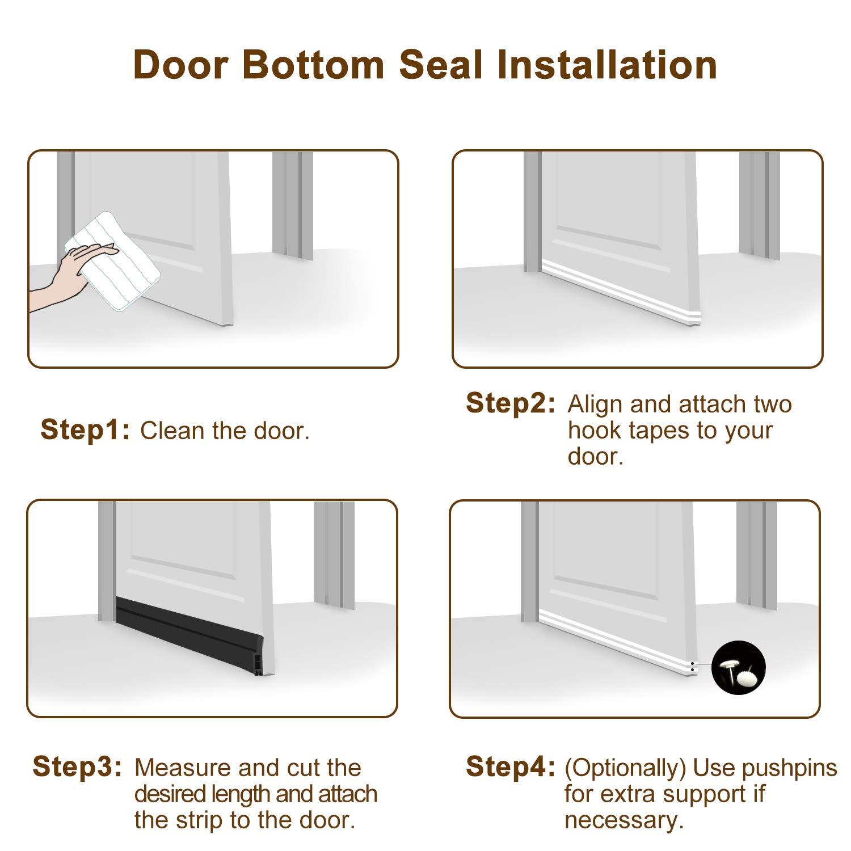 Wind Dust Draft Blocker for French Doors Under Door Seal Strip with Hook/&Loop Tape Jiaaomei Black Weather Stripping for Doors Bottom 39 x 2-1//4