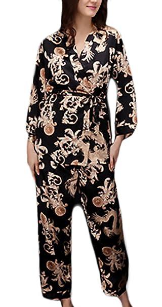 Pijamas Mujer Hombre Traje De Pareja Elegantes Suave Sedoso Moda Vintage Impresión Joven Bastante Batas Albornoz