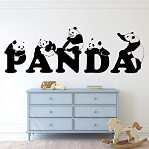 VODOE Panda Wall Decal, Wall Decals for Kids Rooms, Lovely Animal Play Personalized Safari Unique Cartoon Stickers Suitable for Family Living Room Vinyl Art Home Decor(Black 40 X 13.3 inches)