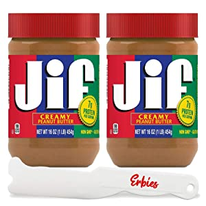 Jif Creamy Peanut Butter, 2 16-ounce Jars, Natural Delicious Flavor, Packed with Healthy Proteins for Kids and Adults, With Erbies Spreader Spatula