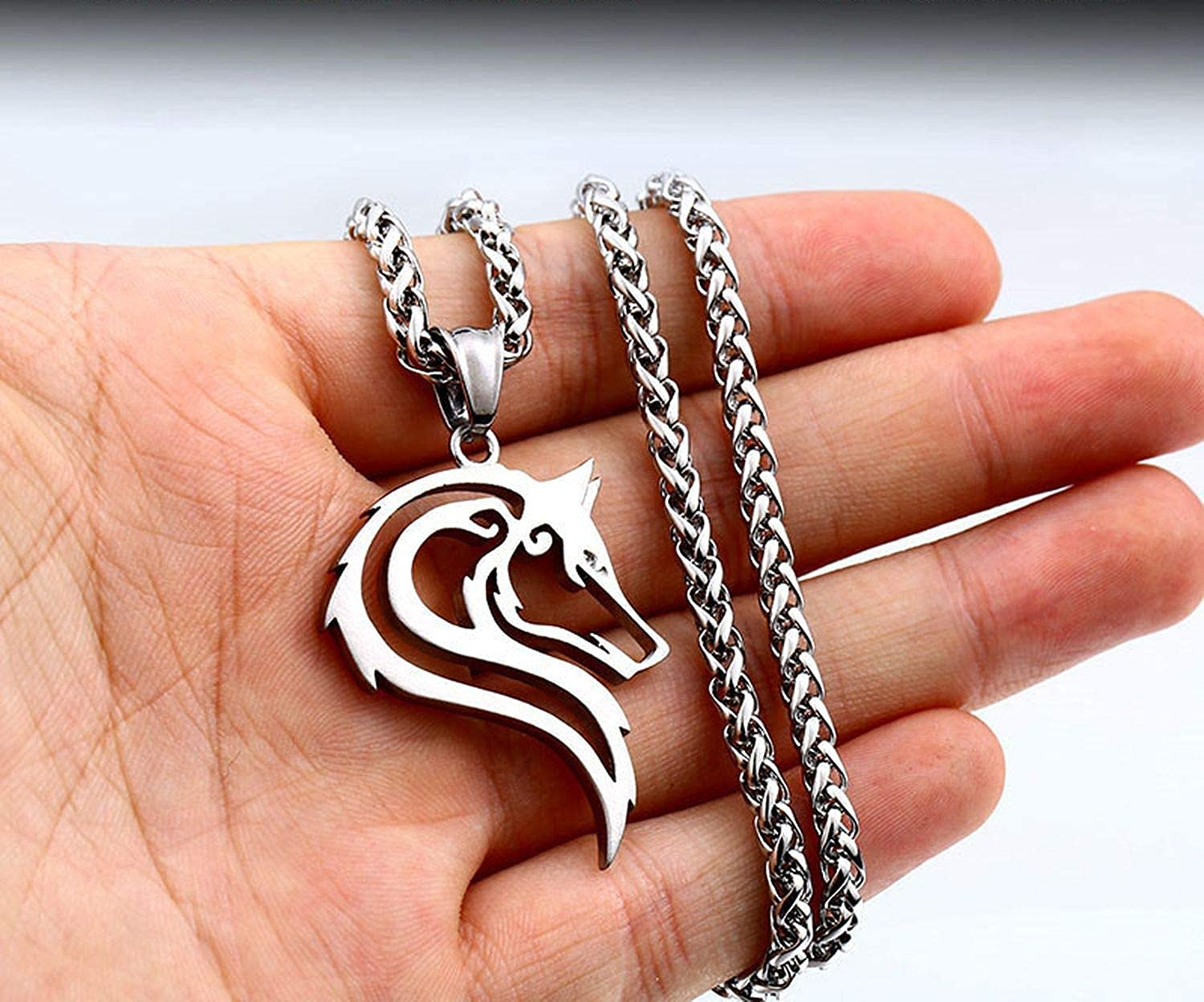 316L Stainless Steel Men Necklace Celt Wolf Head Pendant Fashion Jewelry