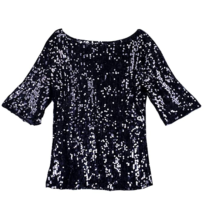 8db3114df88 Glistening Sequin Cocktail Club Party Top Shimmer Glam Glitter Plus Size T- Shirt (Black
