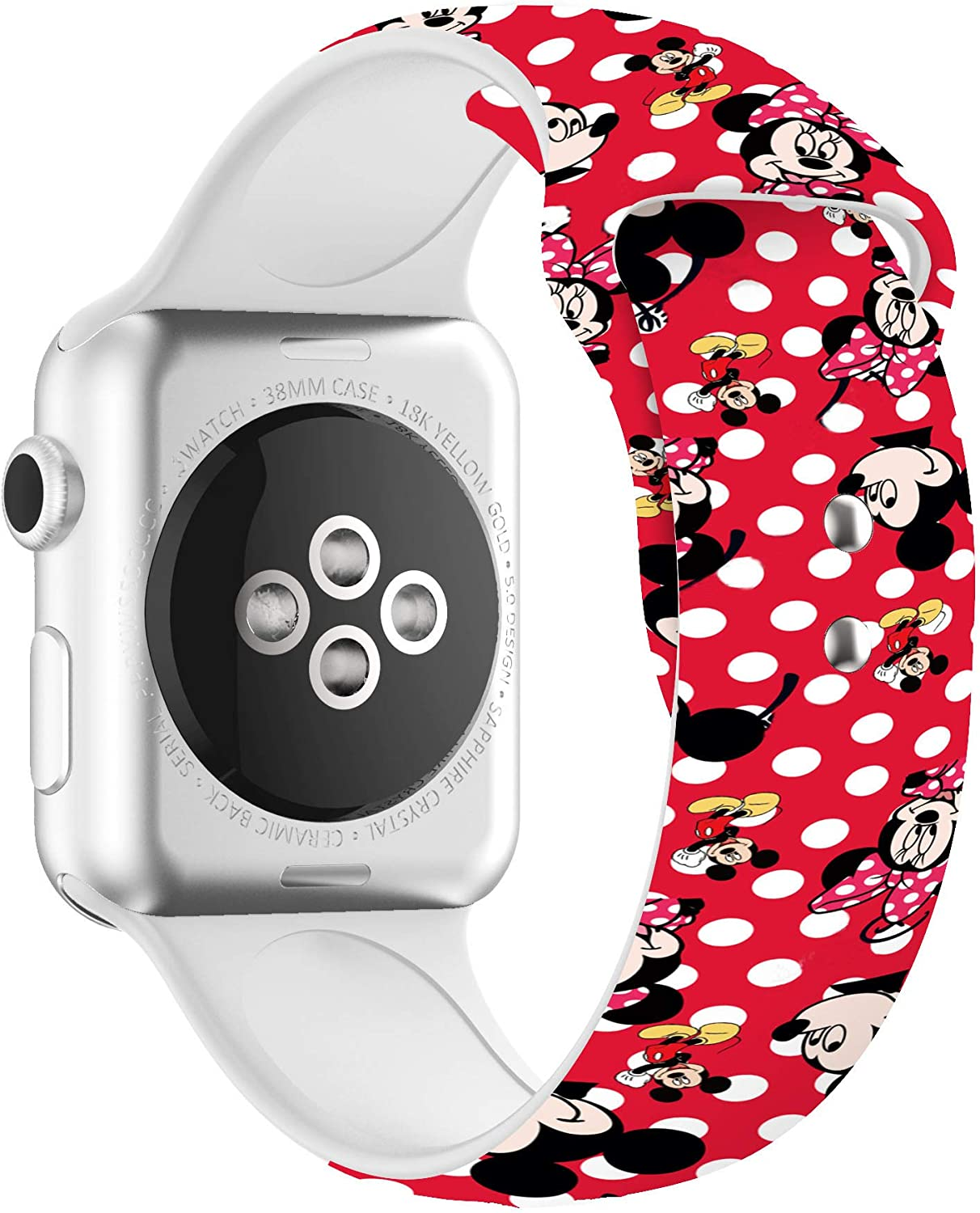 Cartoon Mickey Minnie Silicone Bands for Apple Watch 38mm/40mm/42mm/44mm, Fit All Series 6/5/4/3/2/1 Men and Women Replacement Straps
