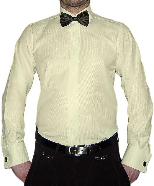 Paco Romano Slim Fit Smoking Hemd Schwarze Fliege Struktur New Kent Kragen Langarm