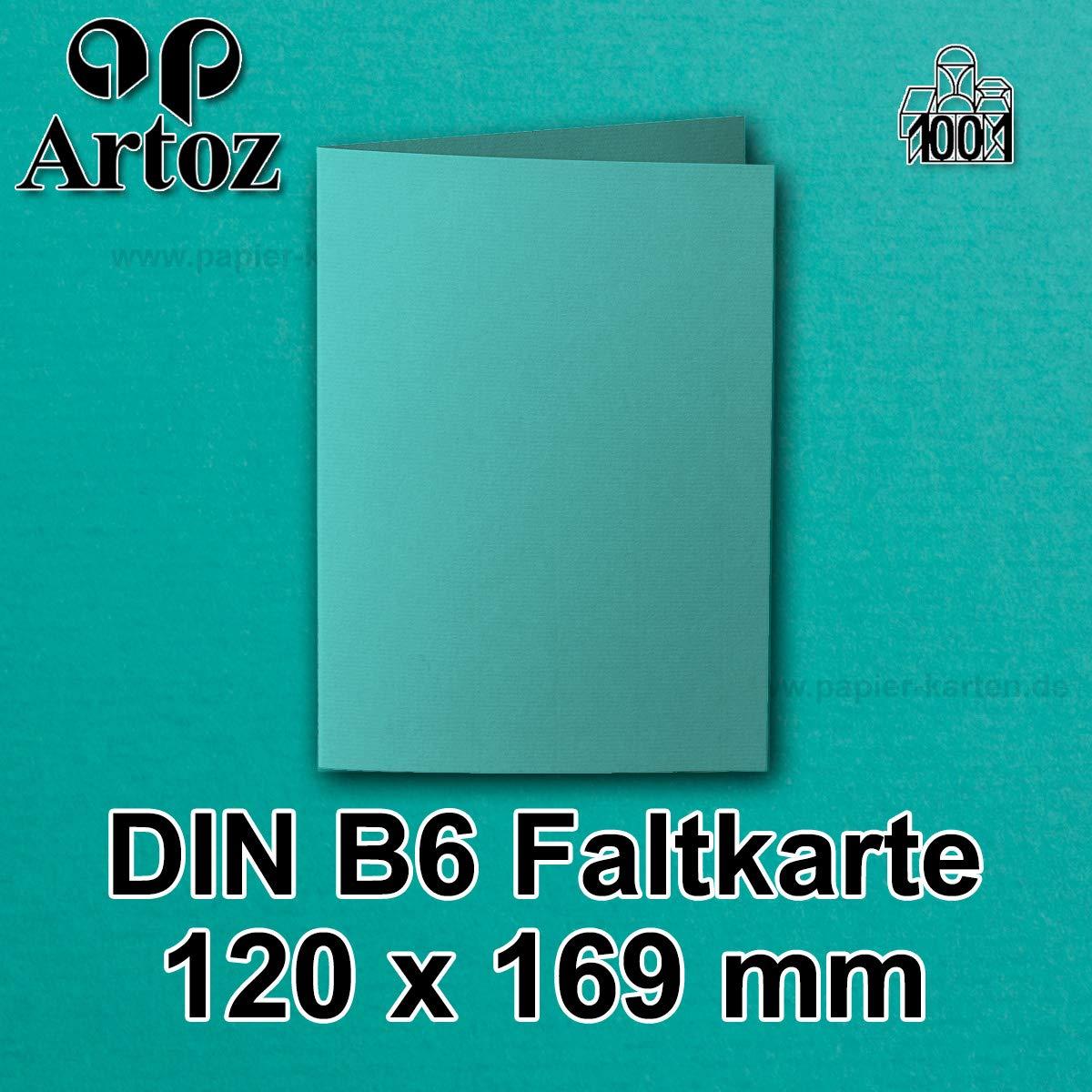 hochdoppelt //// 120 x 169 mm gerippt 220 g//m/² //// Serie 1001 //// Bl/ütenwei/ß 50x original ARTOZ DIN B6 Faltkarten