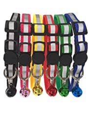 Tafeiya 6x Reflective Design Adjustable Cat Collars More Safety Quick Release Safety Buckle with Bell(6 Red, Pink, Yellow, Black, Blue and Green)