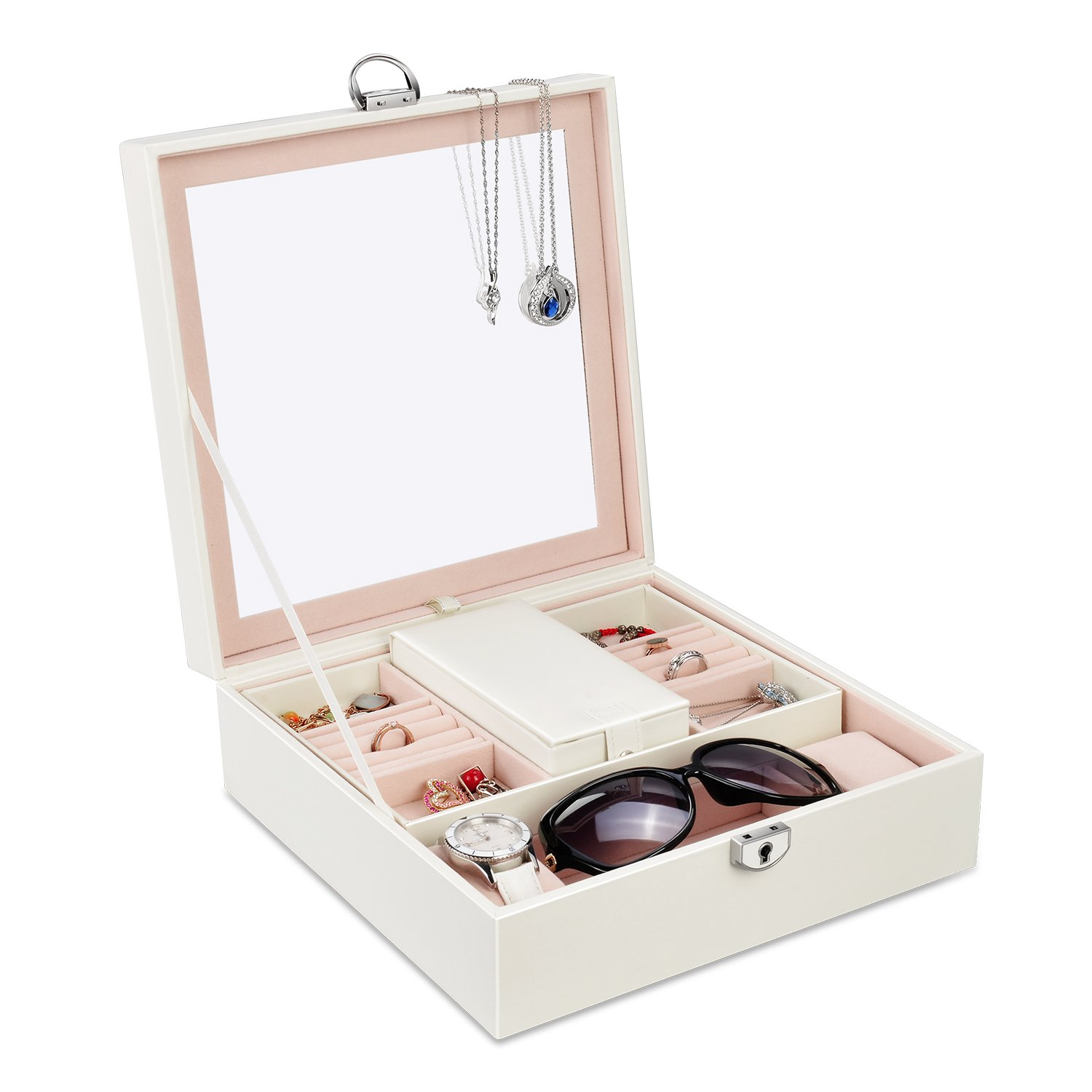 Lesfit Leather Jewelry Box, Lockable Jewelry Display Case Storage Organizer Box for Bracelets, Necklace, Earrings, Rings and Watches with Big Mirror, White