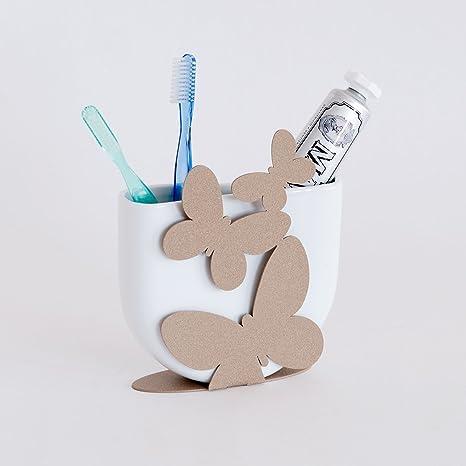 Porta cepillo de dientes/pasta de dientes con mariposas de color beige