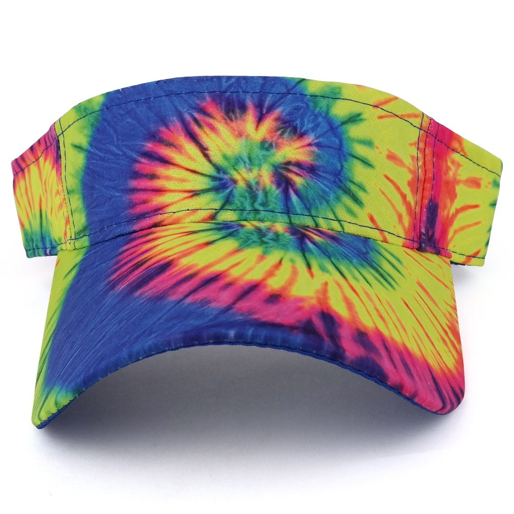 Trendy Apparel Shop Hippy Tie Dye Printed Colorful Cool Summer Visor Cap - Fluorescent by Trendy Apparel Shop (Image #2)