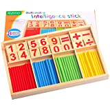 Alytimes Counting Stick Calculation Math Educational Toy, Wooden Number Cards and Counting Rods Box