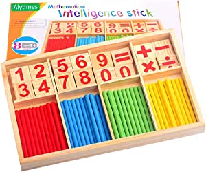 Alytimes Children Counting Stick Calculation Math Educational Toy Wooden Number Cards and Counting Rods with Box