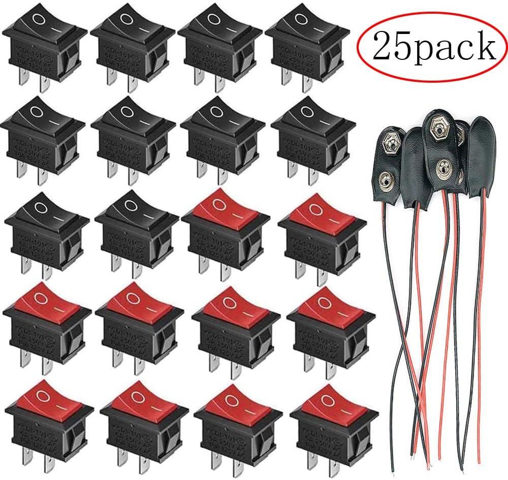 250V 10A VISSQH 25St/ücke ON//Off Mini Wippschalter,Druckschalter AC 6A 125V,2 Pin arduino schalter,SPST schalter,ON//Off Kippschalter+9v Batterie Clip Anschluss